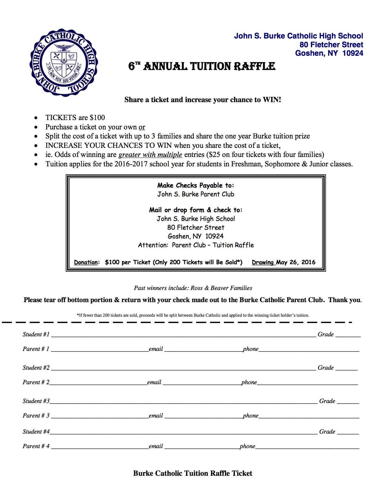 Tuition Raffle - News and Announcements - John S  Burke