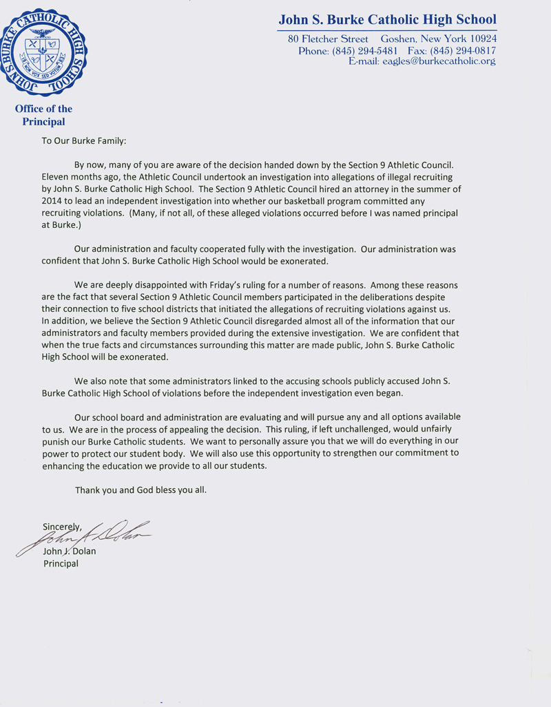 Letter to Parents from Principal John Dolan   News and